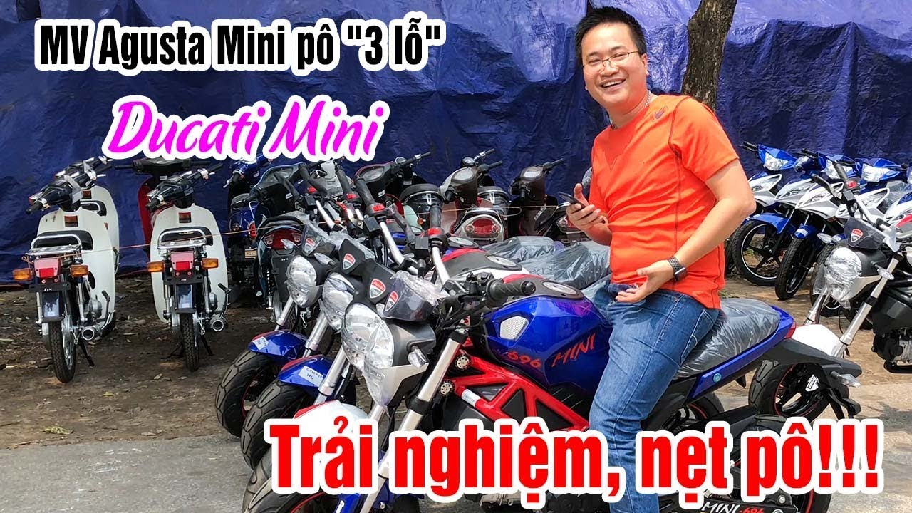 """Đánh giá MV Agusta Mini pô """"3 lỗ"""" hầm hố giá rẻ, Ducati Mini độ pô Akrapovic cực hay!"""