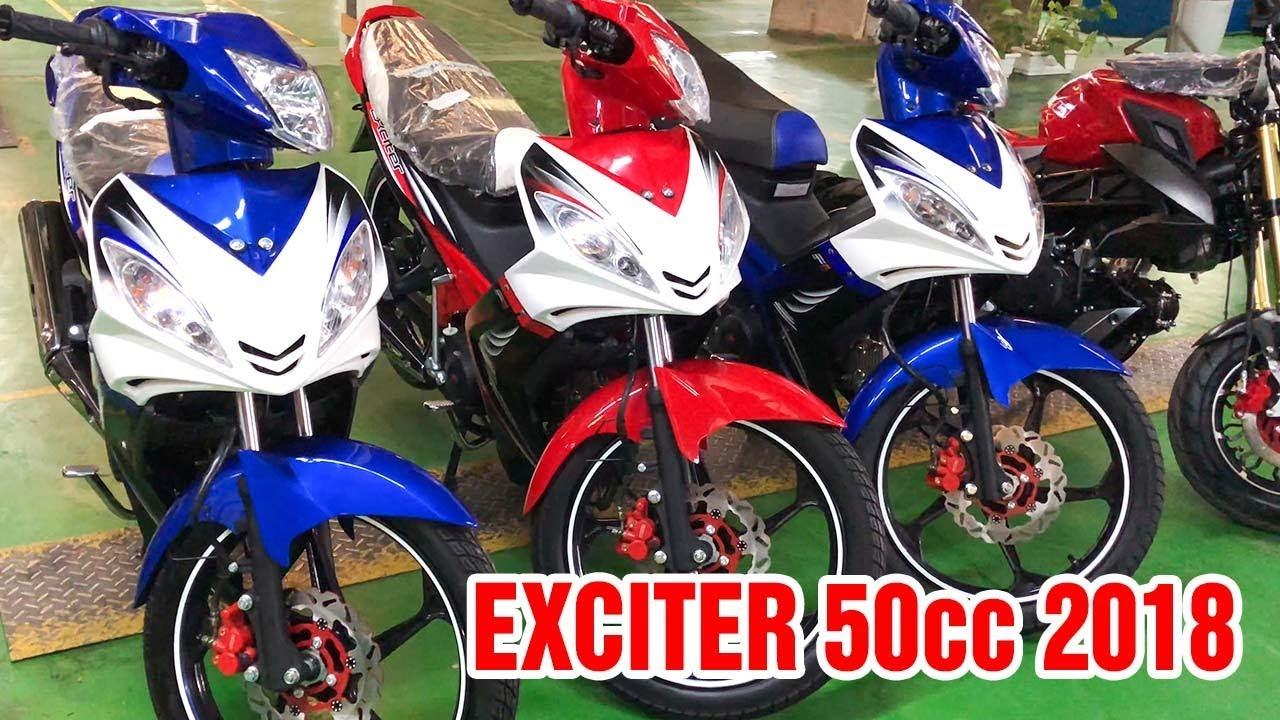Exciter 50cc 2018 Trắng Đỏ ▶ Đánh giá cận cảnh, đọ dáng cùng Xanh GP!