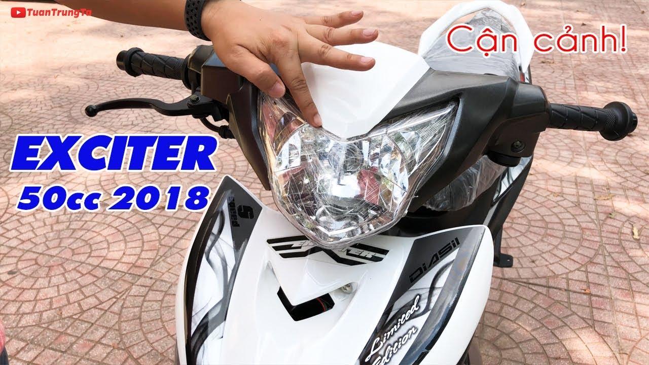 Ngắm cận cảnh Exciter 50cc 2018 màu Trắng Xám!
