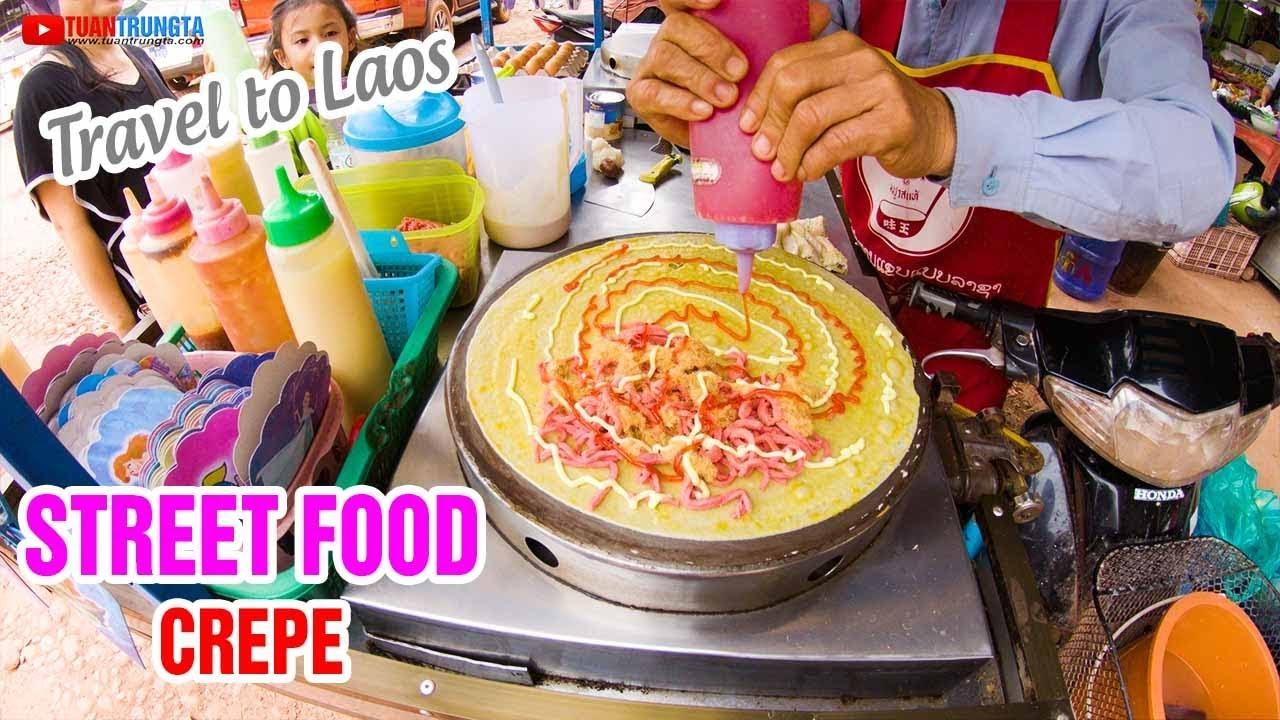 Xem cách làm bánh Crepe kiểu Thái Lan tại Lào!